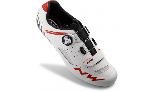 Chaussures Route Northwave Core Plus 2019 Blanc Rouge dessus