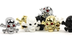Trik Topz Skull and Bone Valve Caps (a pair)